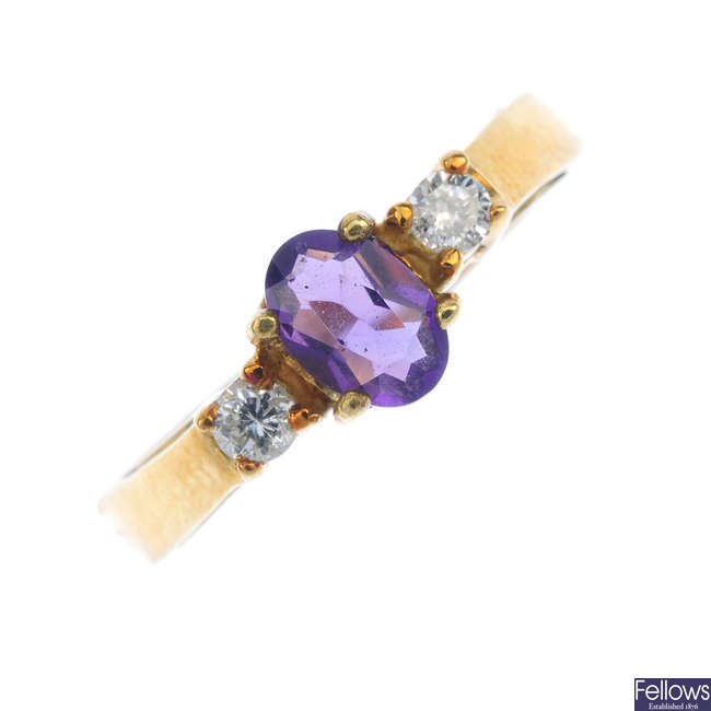 An amethyst and diamond ring.