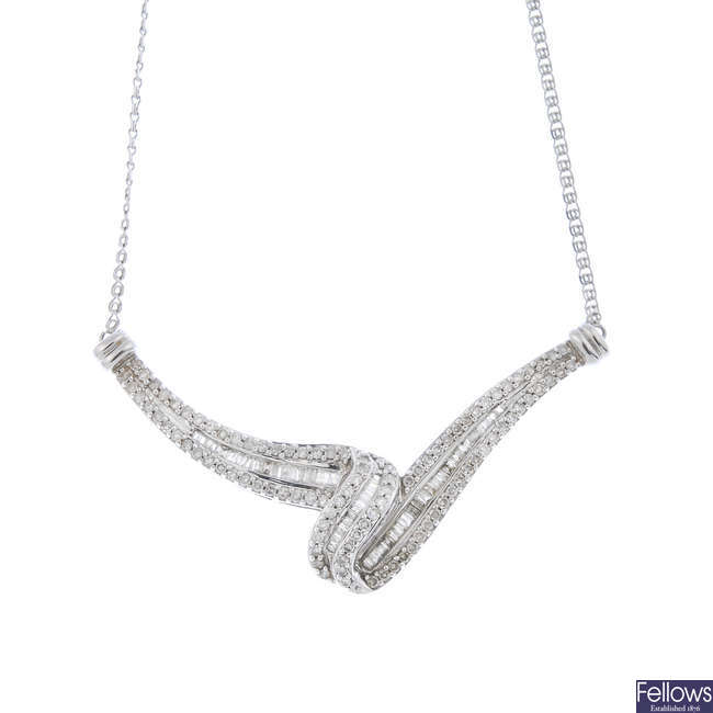 A 9ct gold diamond necklace.