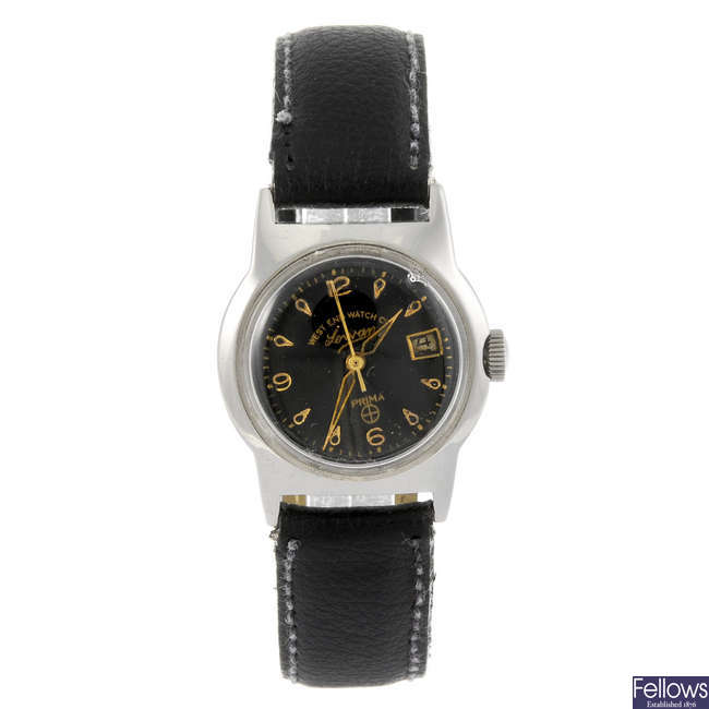 WEST END WATCH CO. - a gentleman's base metal Sowan wrist watch. Together with two other watches.