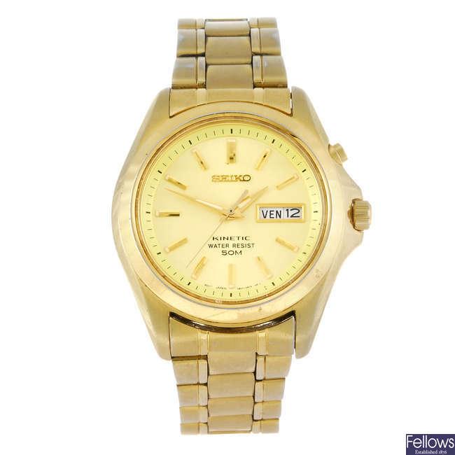 SEIKO - a gentleman's gold plated Kinetic bracelet watch.