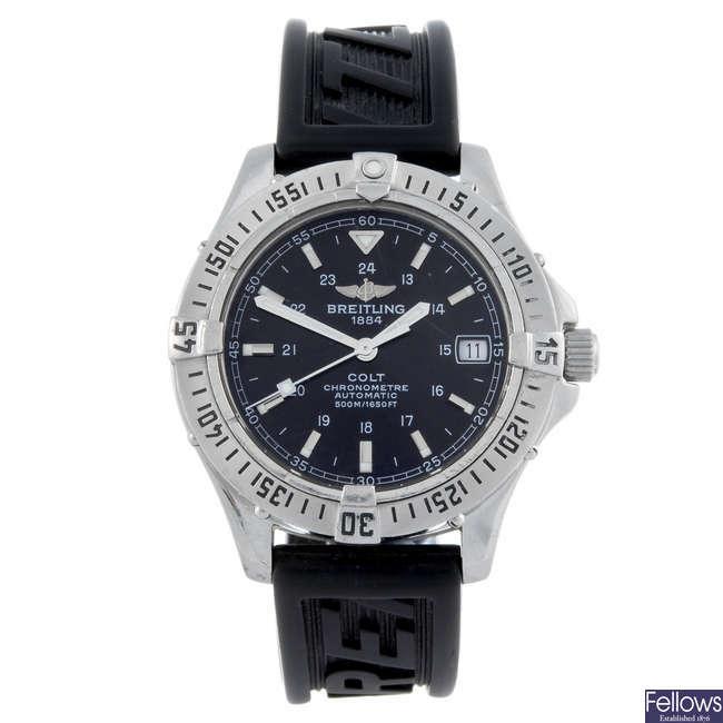 BREITLING - a gentleman's stainless steel Colt wrist watch.