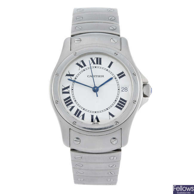 CARTIER - a stainless steel Santos Ronde bracelet watch.