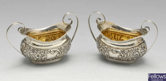 A pair of late Victorian silver open salts.