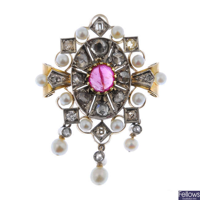 A ruby, diamond and cultured pearl cluster brooch.