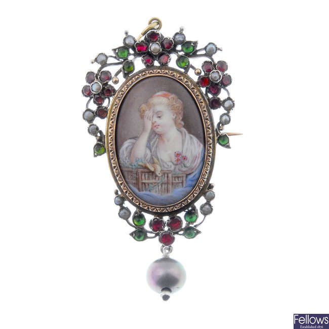 An early 20th century split pearl and gem-set portrait pendant.