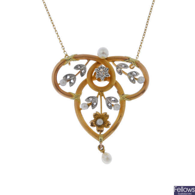 A French gold seed pearl and diamond pendant, on chain.