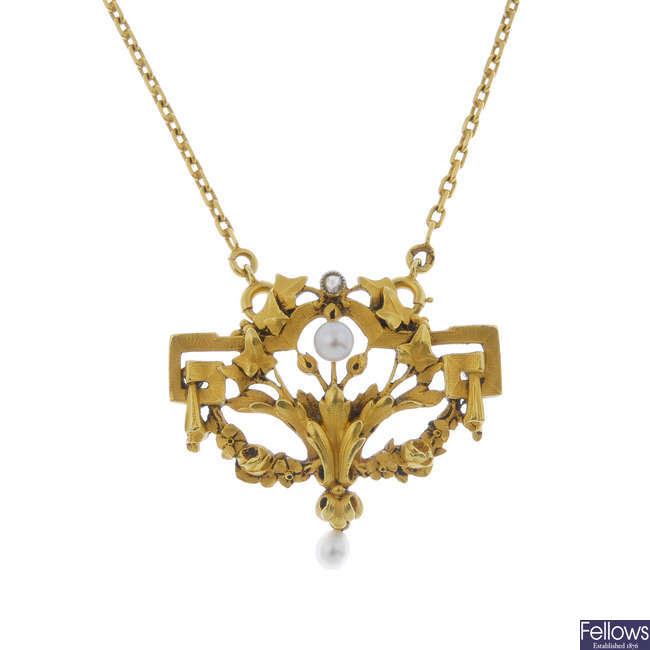 A French Belle Epoque 18ct gold, pearl and diamond pendant, with chain.