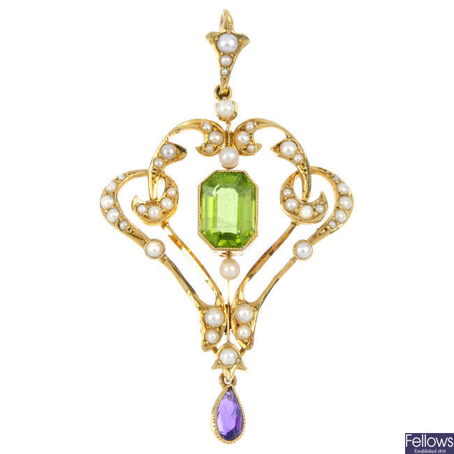 An early 20th century 15ct gold peridot, split pearl and amethyst pendant.
