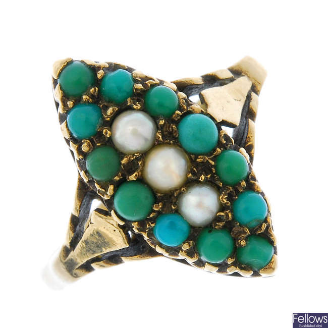 A late Victorian 9ct gold turquoise and split pearl ring.