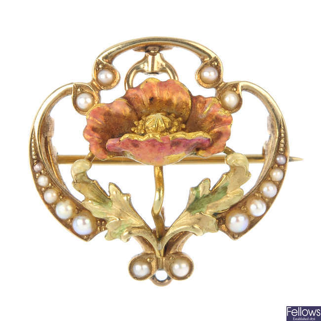 An early 20th century 14ct gold enamel and split pearl floral brooch.