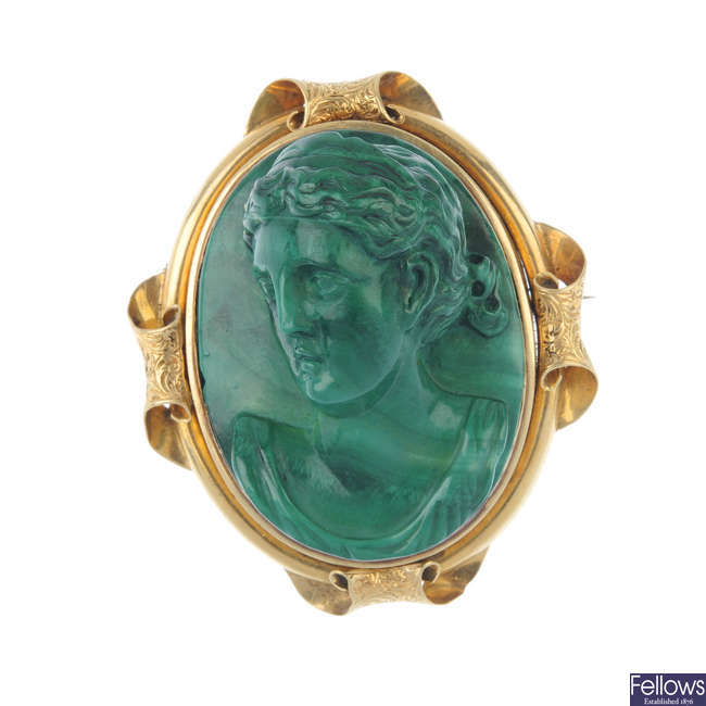 A late Victorian carved malachite memorial brooch.
