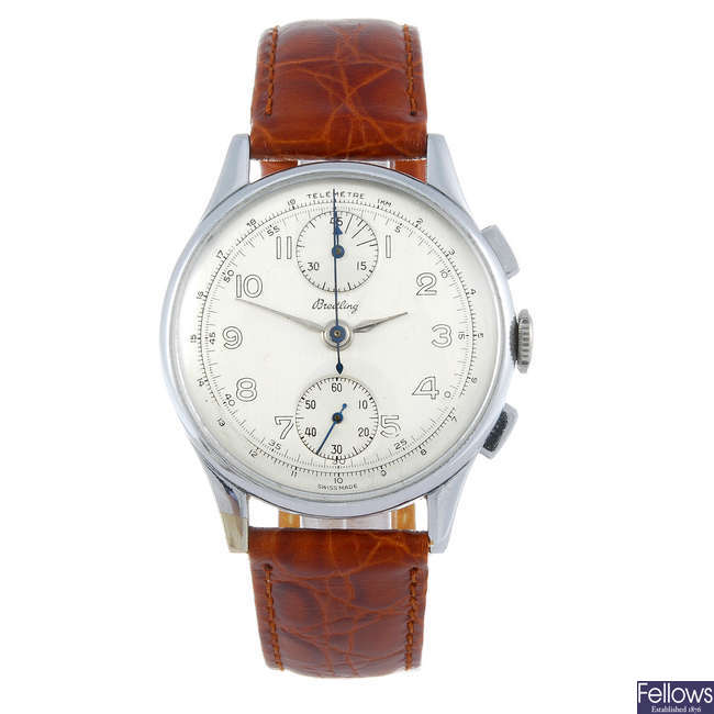 A gentleman's nickel plated chronograph wrist watch spuriously signed Breitling.