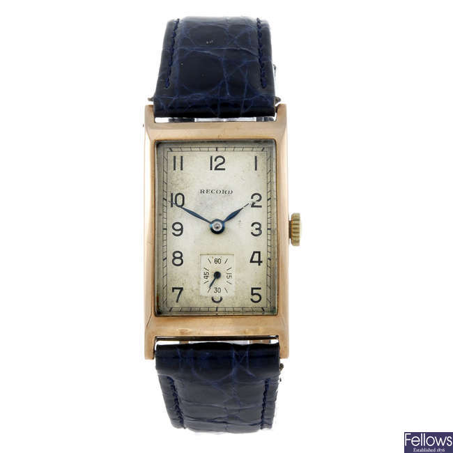 RECORD - a gentleman's 9ct yellow gold wrist watch.