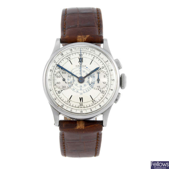 A gentleman's chronograph wrist watch spuriously signed Omega.