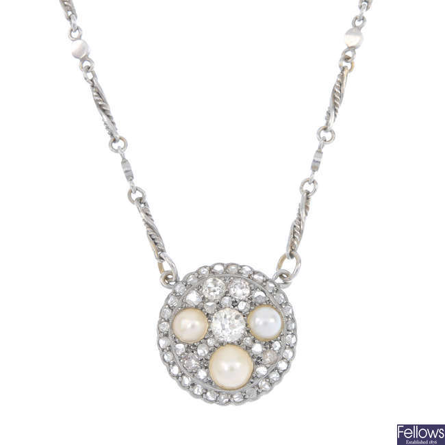 A diamond and split pearl pendant.
