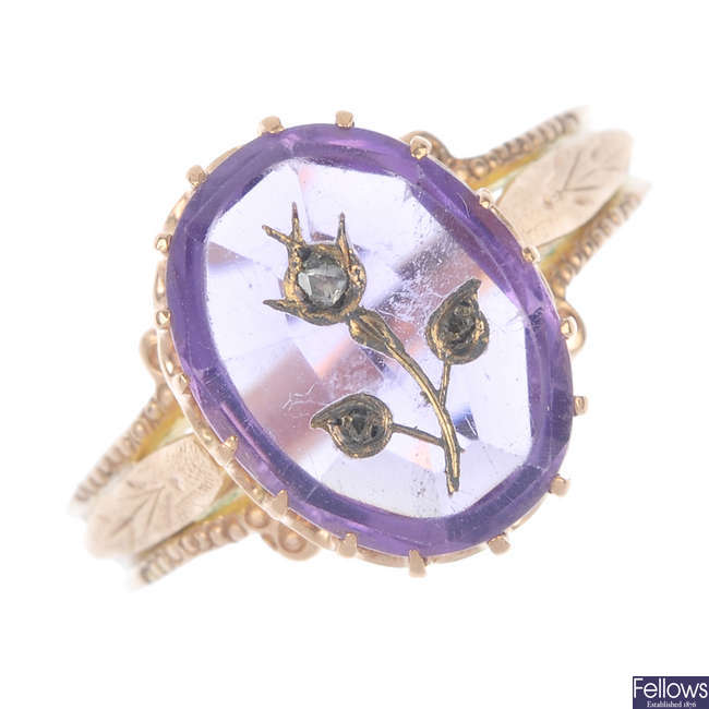 A late 19th century amethyst and diamond ring.