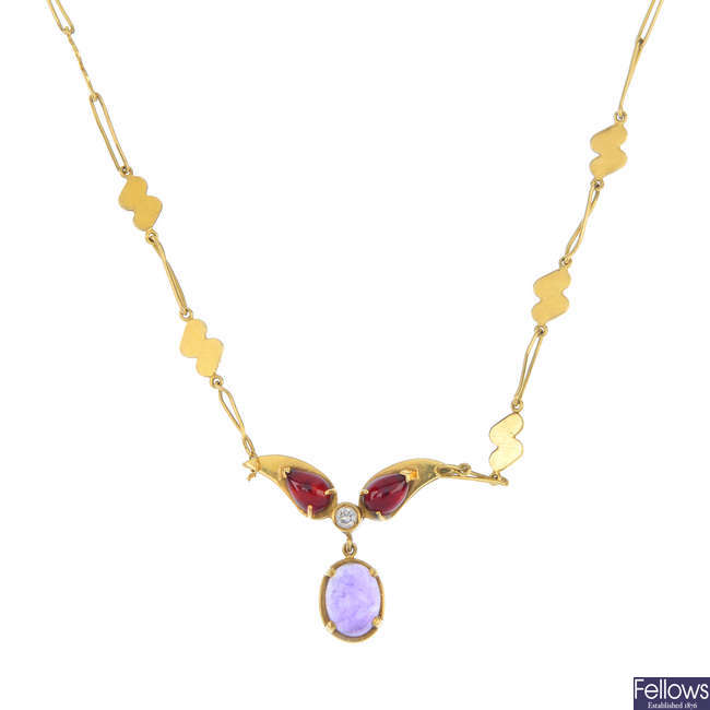 An 18ct gold, diamond and gem-set necklace.