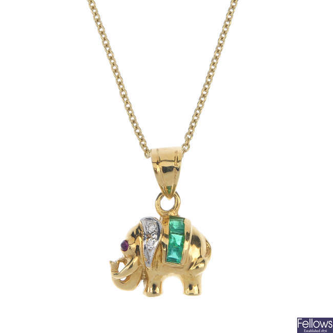 An emerald and diamond elephant pendant, with chain.