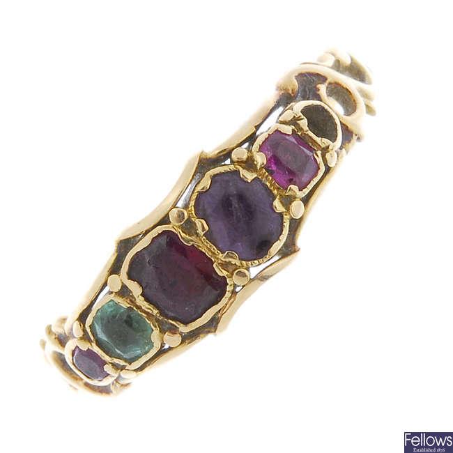 A late 19th century gem-set regard ring.