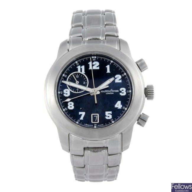 MAPPIN & WEBB - a gentleman's stainless steel bracelet watch.