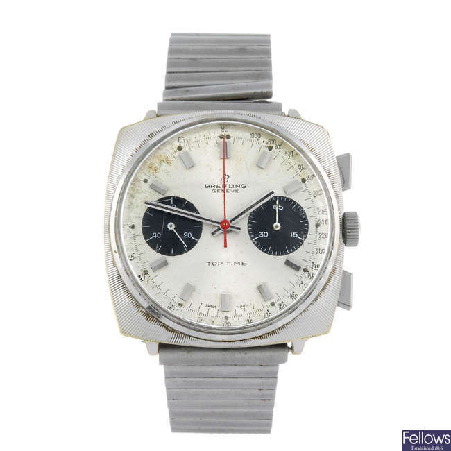 BREITLING - a gentleman's stainless steel Top Time chronograph bracelet watch.