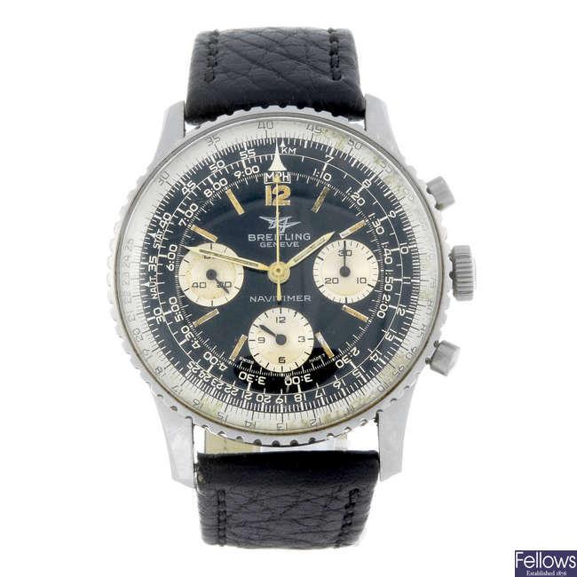 BREITLING - a gentleman's stainless steel Navitimer 806 chronograph wrist watch.
