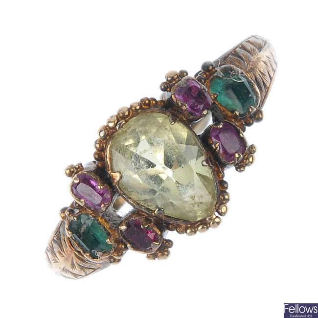 A mid 19th century gold gem-set ring.