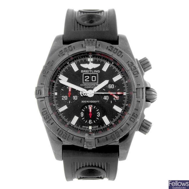 BREITLING - a gentleman's PVD treated stainless steel Blackbird Blacksteel chronograph wrist watch.