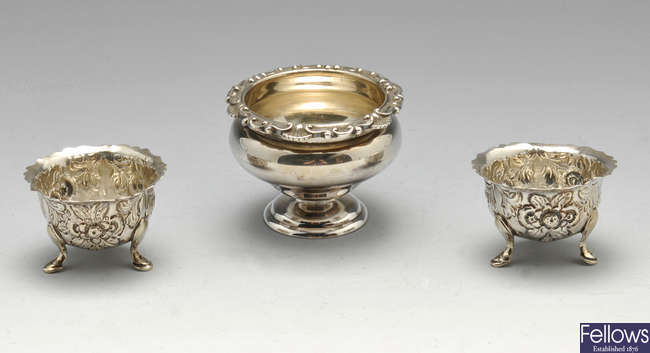 A pair of late Victorian silver salts, a larger salt, a mother-of-pearl dish, cased spoons, etc