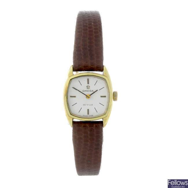 OMEGA - a lady's gold plated De Ville wirst watch.