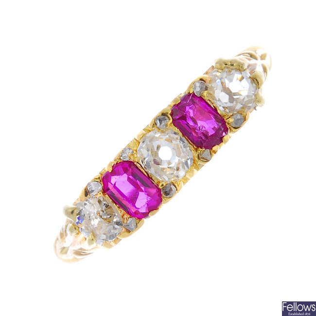An early 20th century 18ct gold ruby and diamond ring.