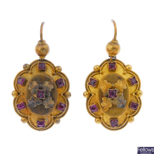 A pair of late 19th century gem-set ear pendants.