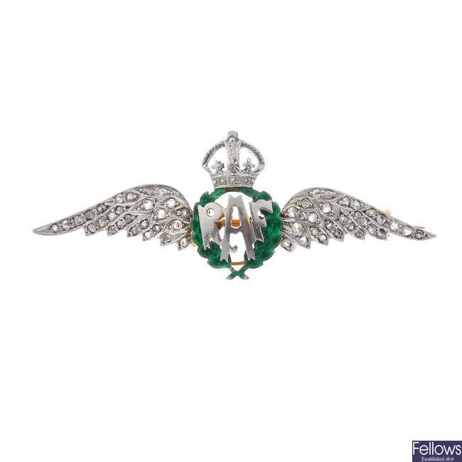 A mid 20th century diamond and enamel RAF brooch.