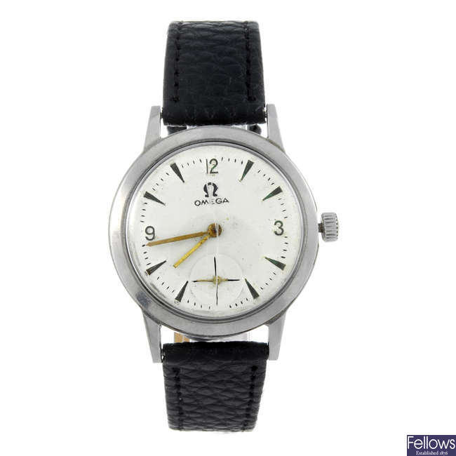 A mid-size stainless steel wrist watch with a lady's watch head.