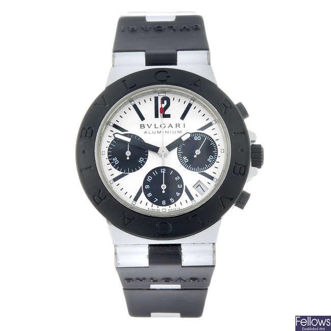 BULGARI - a gentleman's bi-material Diagono Aluminium chronograph wrist watch.