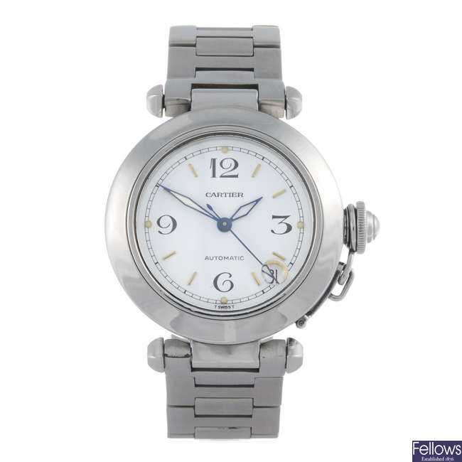 CARTIER - a stainless steel Pasha De Cartier bracelet watch.