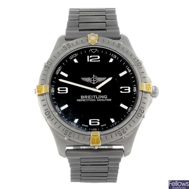BREITLING - a gentleman's titanium Professional Aerospace bracelet watch.