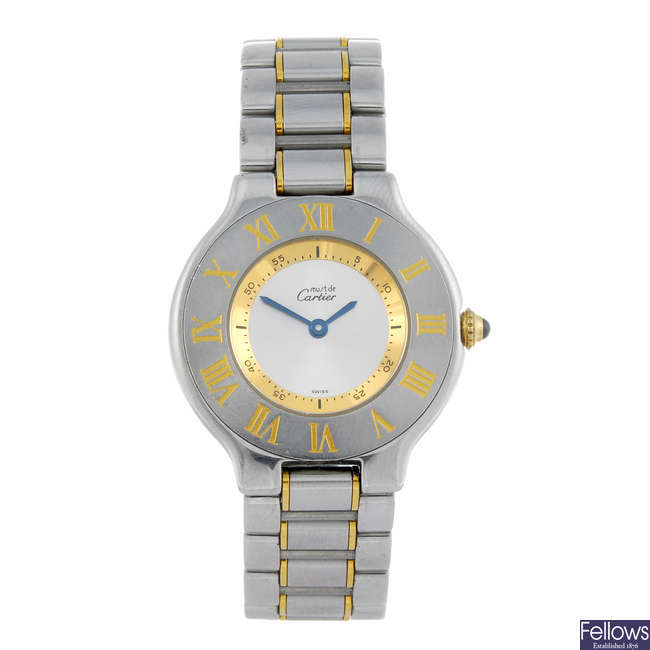 CARTIER - a bi-colour Must de Cartier 21 bracelet watch.