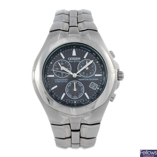 CITIZEN - a gentleman's stainless steel Eco-Drive Perpetual Calendar chronograph bracelet watch.