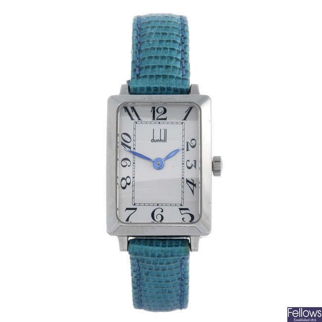 DUNHILL - a lady's stainless steel wrist watch.