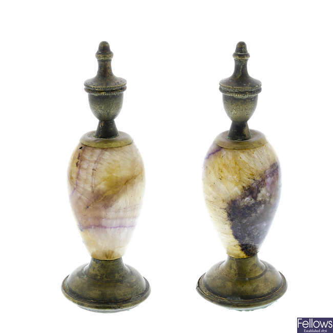 A small pair of Georgian Blue John urns