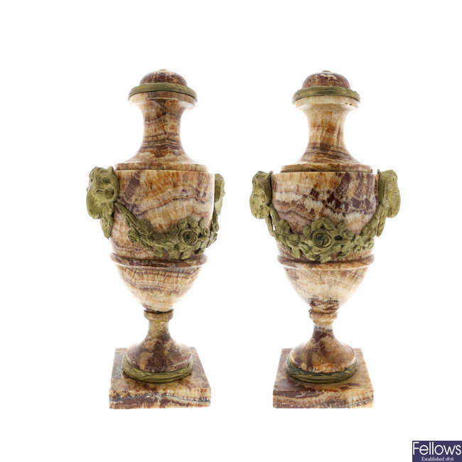 A pair of 19th century Derbyshire Spar urns.