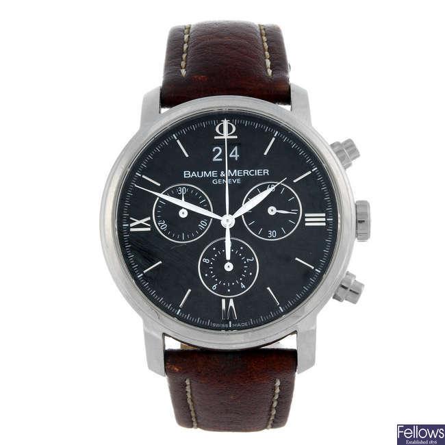 BAUME & MERCIER - a gentleman's stainless steel Classima chronograph wrist watch.