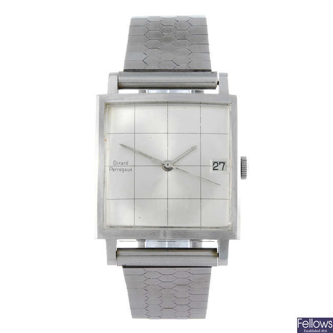 GIRARD-PERREGAUX - a gentleman's stainless steel bracelet watch.