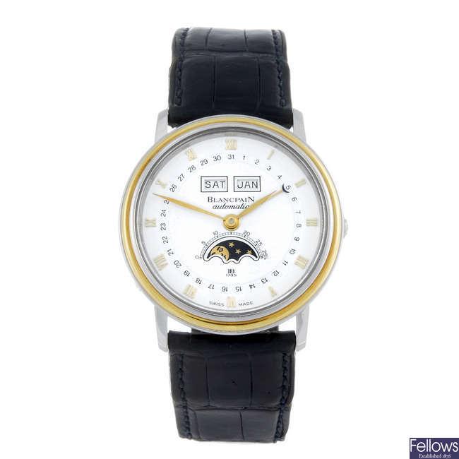 BLANCPAIN - a gentleman's bi-metal Triple Calendar Moonphase wrist watch.