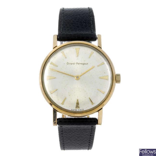 GIRARD-PERREGAUX - a gentleman's gold plated wrist watch.
