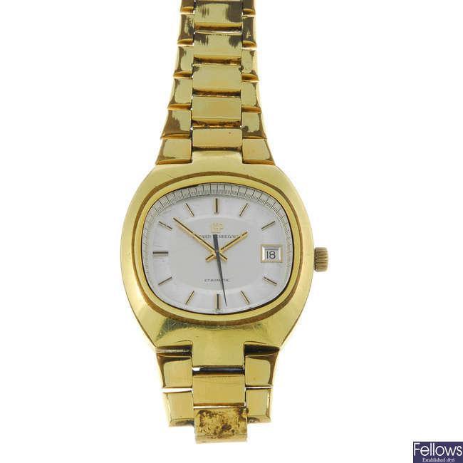 GIRARD-PERREGAUX - a gentleman's gold plated Gyromatic bracelet watch.