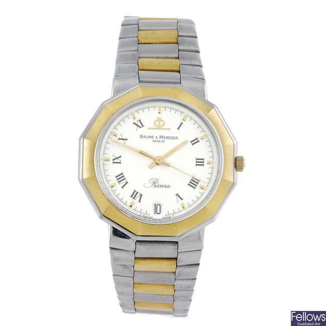 BAUME & MERCIER - a gentleman's bi-colour Riviera bracelet watch.
