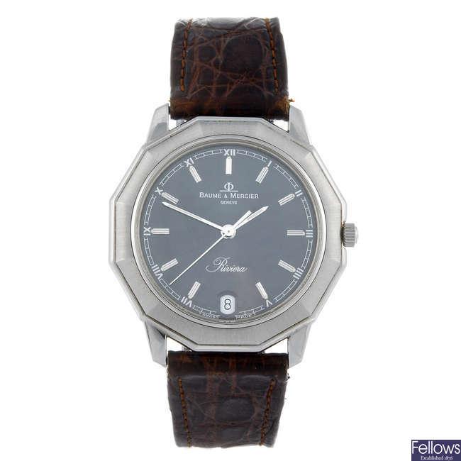 BAUME & MERCIER - a gentleman's stainless steel Riviera wrist watch.