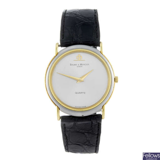 BAUME & MERCIER - a gentleman's bi-metal wrist watch.